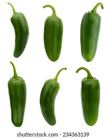 set of green jalapeno peppers