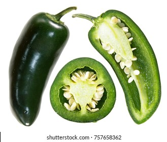 Set of Green jalapenos (chili pepper) isolated on white background