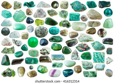set of green mineral stones, crystals and gemstones isolated on white background