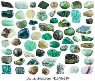 set of green natural mineral stones and gemstones isolated on white background
