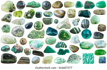 set of green natural mineral stones and gems isolated on white background