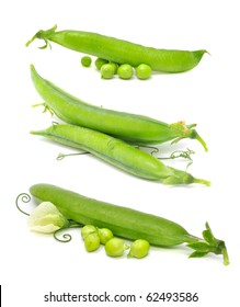 A Set of Green Peas Isolated on White Background