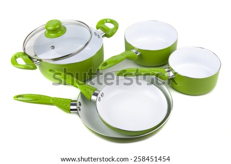Set Green Pots Pans Isolated Stock Photo Edit Now 258451454