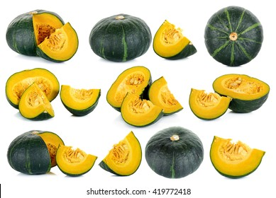 Set Green pumpkin isolated on the white background .
