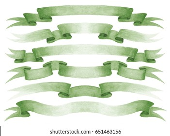 Set of green watercolor ribbons. Design elements isolated on white background.
