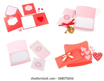 Set of greeting cards and envelopes on white background