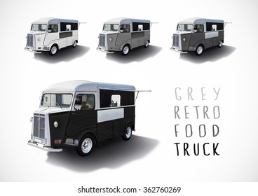 Set of grey scale retro food trucks isolated with cutting path