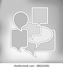 Set of Grey Speech Bubbles on Grey Background