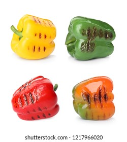 Set of grilled different bell peppers on white background