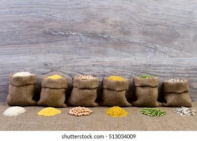 Set groats, peas, rice, millet, peas in sacks, burlap