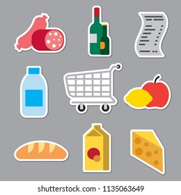 set of grocery supermarket stickers for foods and meal