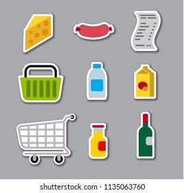 set of grocery supermarket stickers, foods and basket