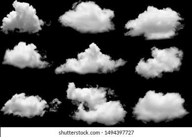 Set group of clouds white for design on isolated elements black background.