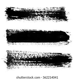 Set of Grunge brush strokes / Set of paint blobs. Isolated on white background. Black