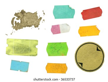 Set of grungy adhesive labels, free copy space