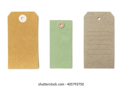 Set of grungy recycled paper tags of various shapes, isolated on white background, highly detailed