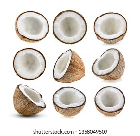 set of half coconut isolated on the white background