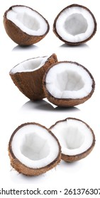 Set of Half Coconuts Isolated on White Background