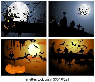 Set of Halloween Greeting Cards. Elegant Design With Pumpkin, Moon, Tree, Grave, Castle, and Cats Over Grunge Dark Sky Background. Raster Illustration.