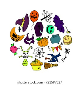 Set of Halloween illustration for a party in a modern style. Doodle. Design icon, print, logo, poster, symbol, decor, textile, paper