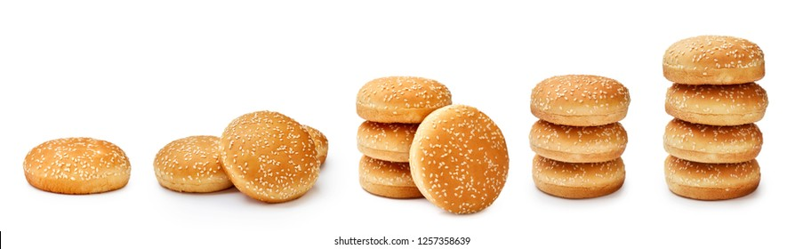 Set of Hamburger buns with sesame isolated on white background. Packaging. Mock up for design.