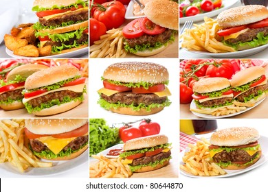 set with hamburgers