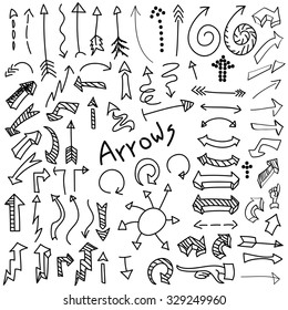 Set of hand drawn black arrows isolated on white background