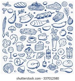 Set hand drawn doodle food and drink elements on squared paper. Illustration for backgrounds, web design, design elements, textile prints, covers, posters, menu
