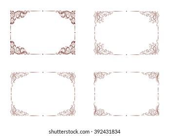 Set of hand drawn rectangular ornamental frame.