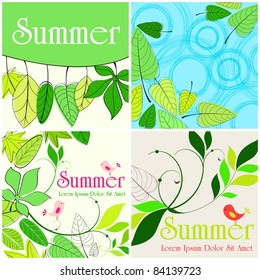 Set of hand drawn style of cute summer illustrations