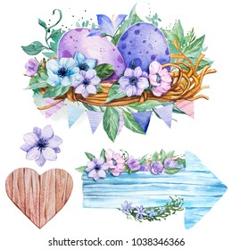 Set Hand drawn watercolor art eggs with Spring flowers. Isolated illustration on white background.