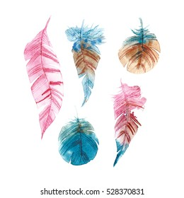 Set of hand drawn watercolor paintings vibrant feather. Wings in Boho and rustik style. Watercolor illustration isolated on white background. Bird fly design for T-shirt, invitation, wedding card.