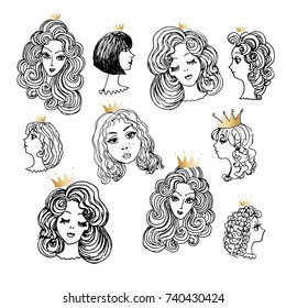 Set of hand drawn women head with golden crown of princesses isolated on a white background. Black and white monochrome sketch, adult and children coloring book page, print for tee shirt