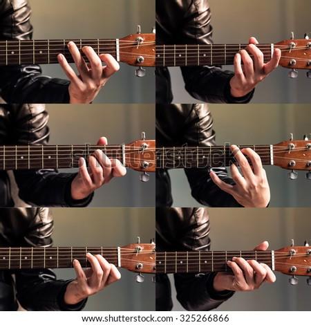 Set Hand Hold Basic Guitar Chord Stock Photo (Edit Now) 325266866 ...