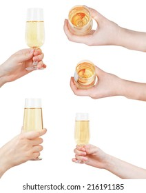 set of hand holding glass with sparkling wine isolated on white background