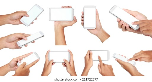 set of Hand holding mobile smart phone with blank screen. Isolated on white.