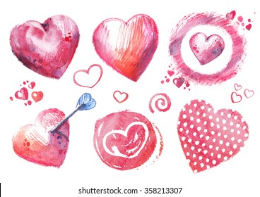 Set of hand painted watercolor hearts with a white background. Good for design St. Valentine's Day and romantic projects. Organic natural style. Raster illustration.