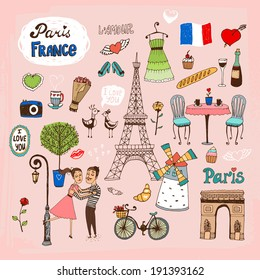 Set of hand-drawn Paris  France landmarks and icons with lovers  the Eiffel Tower  lamppost  fashion  Arc de Trimphe  bicycle  baguette and outdoor restaurant