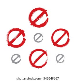 Set of hand-drawn simple prohibition icons, collection of brush drawing red realistic ban symbols, hand-painted prohibition sign isolated on white background.