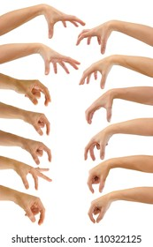 Set of hands of a caucasian female to grab objects, isolated on white