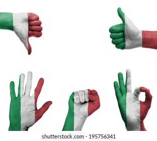 A set of hands with different gestures wrapped in the flag of Italy