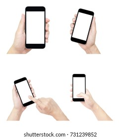 The set of hands with smartphones isolated on white background. Clipping path embedded.