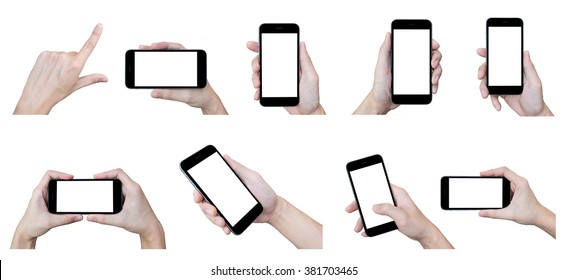 The set of hands with smartphones on isolated white background.