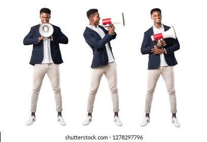 Set of Handsome african american man wearing a jacket holding a megaphone