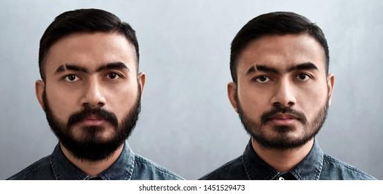 Set of handsome bearded man