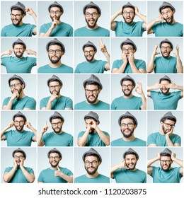 Set of handsome emotional man isolated over gray background