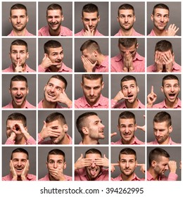 Set of handsome emotional man over grey background. Collage of young man expressing different emotions. Model man with different facial expressions.