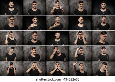 set of handsome emotional man over dark background