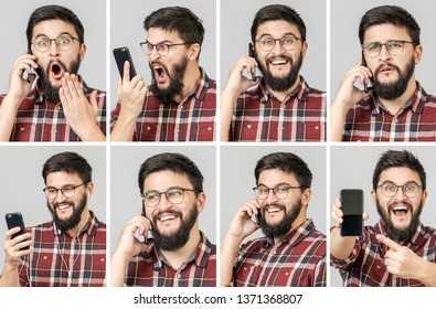 Set of handsome emotional man using mobile phone, texting and talking. Isolated over gray background