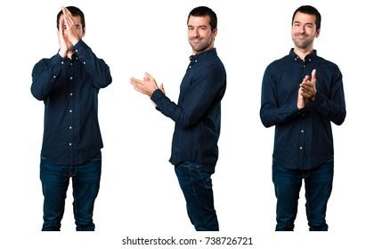 Set of Handsome man applauding